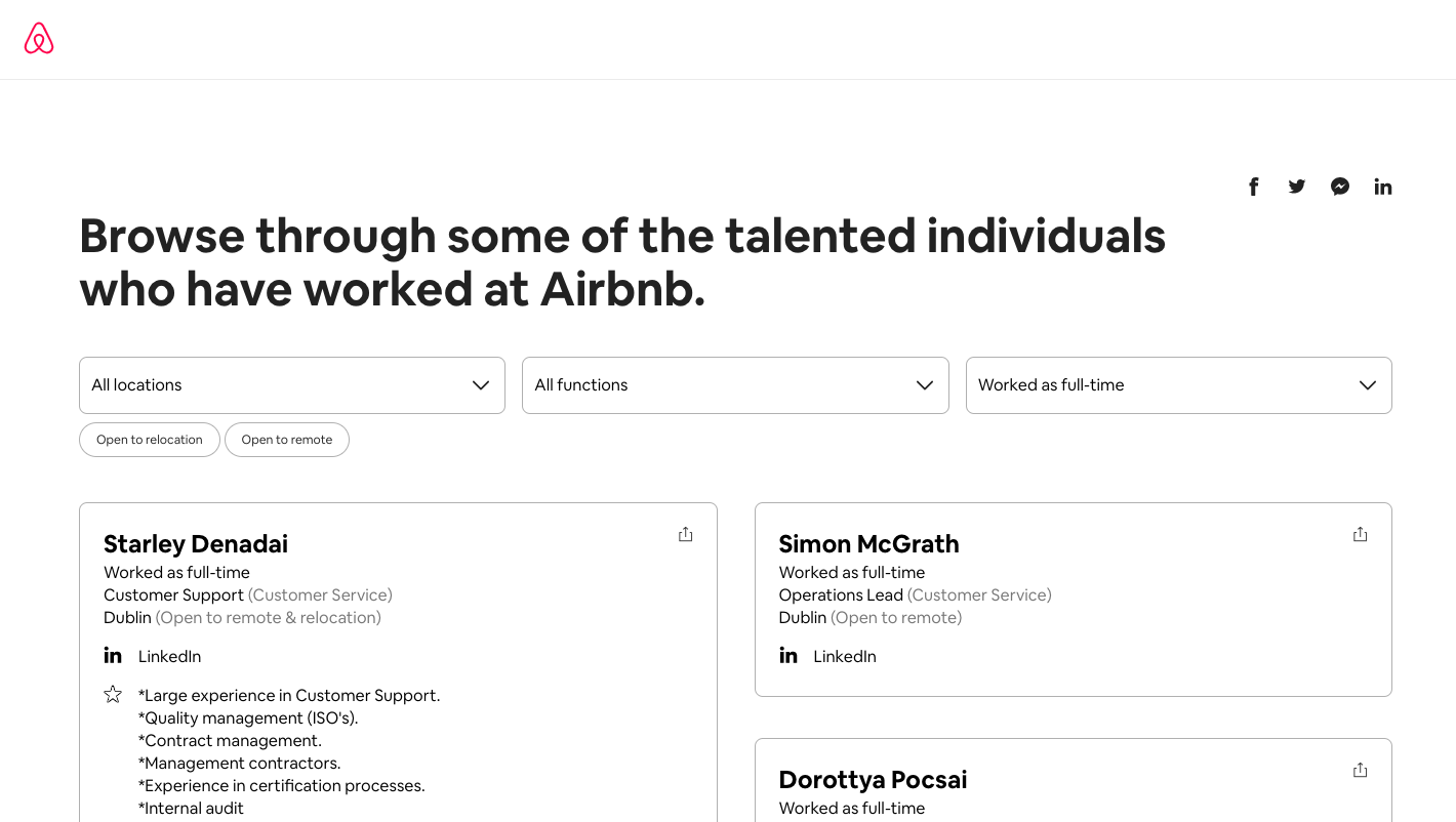 Airbnb Talent Directory