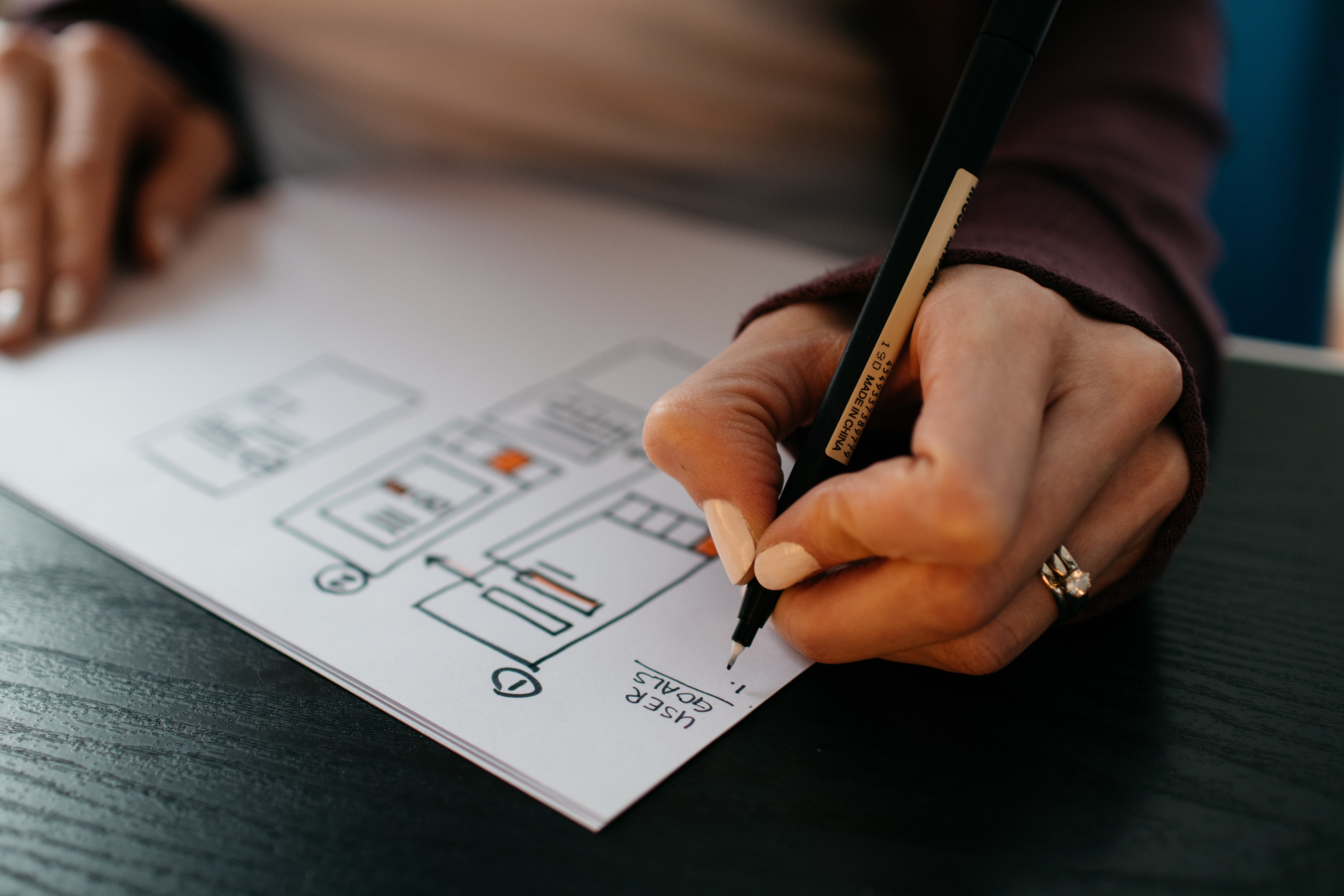 Person drawing a plan